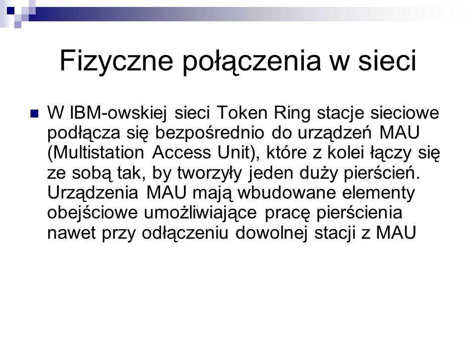 W IBM-owskiej sieci Token Ring stacje sieciowe podłącza się bezpośrednio do urządzeń MAU (Multistation Access Unit), które z kolei łączy się ze sobą t