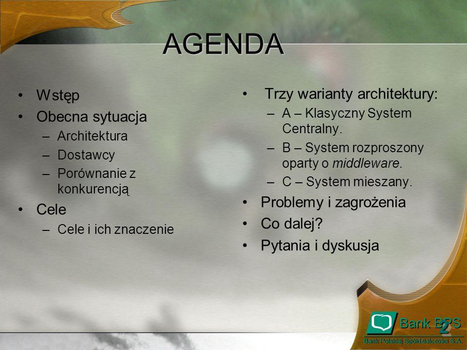 Koncepcja Systemu Informatycznego Banku i Zrzeszenia BPS - Informacja dla Zgromadzenia Prezesów - Listopad 2008 1313 Warianty architektury AB C Klasyczny System Centralny System rozproszony oparty o middleware System mieszany oparty o middleware