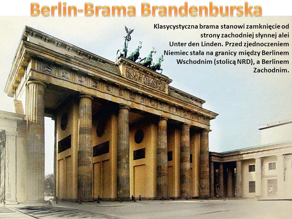 Klasycystyczna brama stanowi zamknięcie od strony zachodniej słynnej alei Unter den Linden. Przed zjednoczeniem Niemiec stała na granicy między Berlin