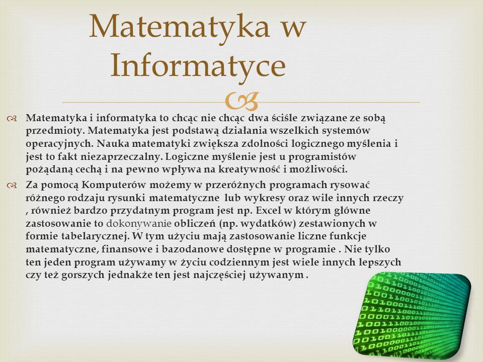 Matematyka i informatyka to chcąc nie chcąc dwa ściśle związane ze sobą przedmioty. Matematyka jest podstawą działania wszelkich systemów operacyjnych