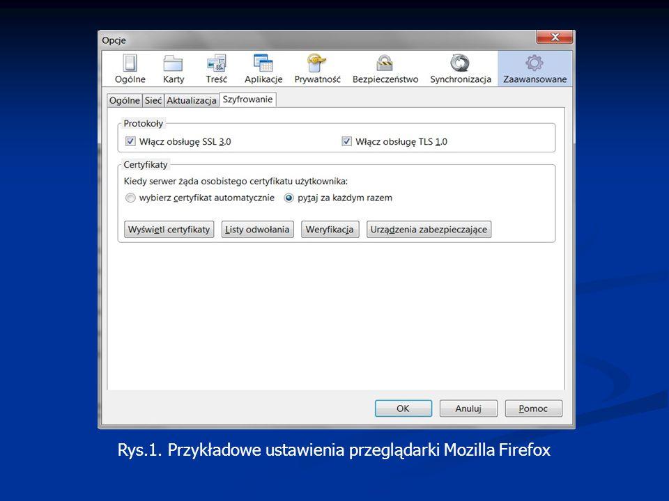 Rys.1. Przykładowe ustawienia przeglądarki Mozilla Firefox