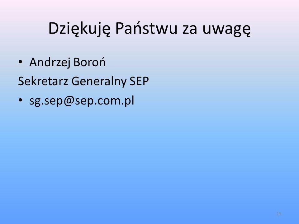 Dziękuję Państwu za uwagę Andrzej Boroń Sekretarz Generalny SEP sg.sep@sep.com.pl 19