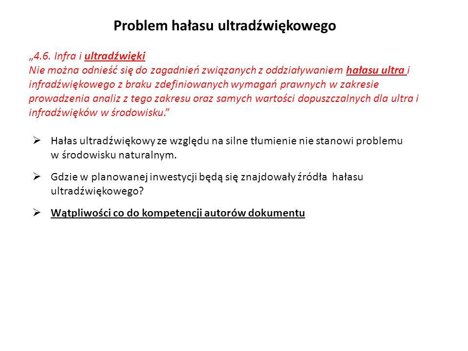 4.6. Infra i ultradźwięki Nie można odnieść się do zagadnień związanych z oddziaływaniem hałasu ultra i infradźwiękowego z braku zdefiniowanych wymaga