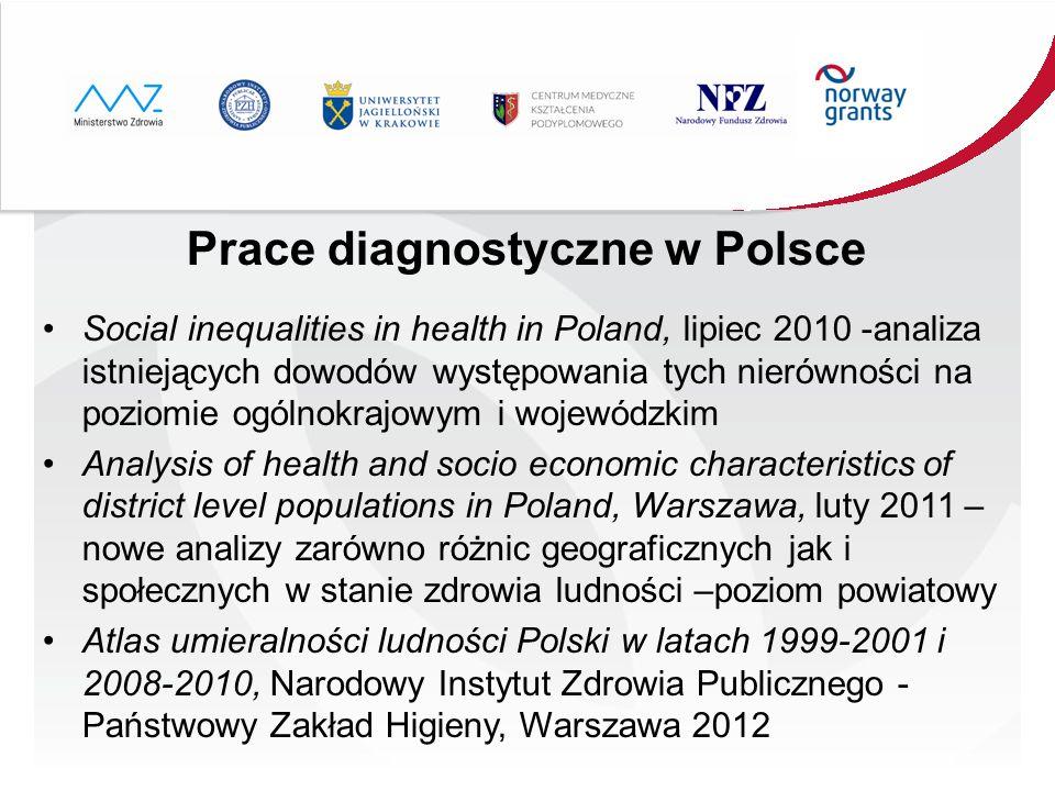 Prace diagnostyczne w Polsce Social inequalities in health in Poland, lipiec 2010 -analiza istniejących dowodów występowania tych nierówności na pozio