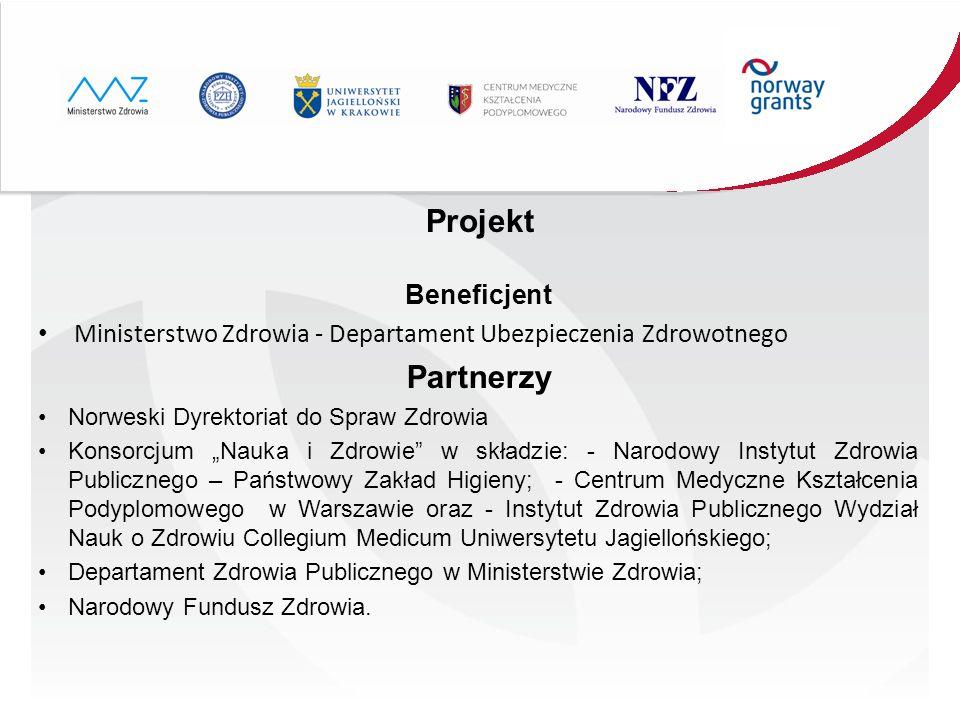 Projekt Beneficjent Ministerstwo Zdrowia - Departament Ubezpieczenia Zdrowotnego Partnerzy Norweski Dyrektoriat do Spraw Zdrowia Konsorcjum Nauka i Zd