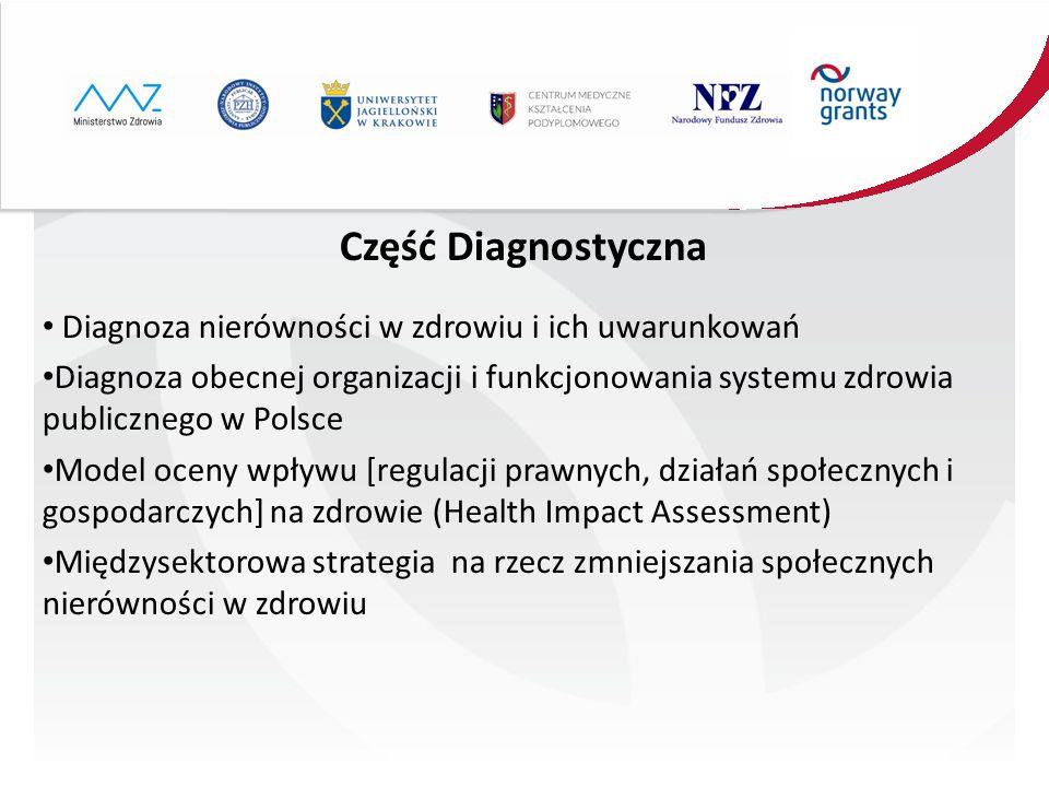 Część Diagnostyczna Diagnoza nierówności w zdrowiu i ich uwarunkowań Diagnoza obecnej organizacji i funkcjonowania systemu zdrowia publicznego w Polsc