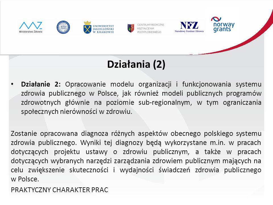 Działania (2) Działanie 2: Opracowanie modelu organizacji i funkcjonowania systemu zdrowia publicznego w Polsce, jak również modeli publicznych progra