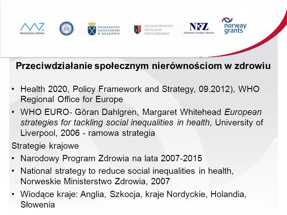 Przeciwdziałanie społecznym nierównościom w zdrowiu Health 2020, Policy Framework and Strategy, 09.2012), WHO Regional Office for Europe WHO EURO- Gör