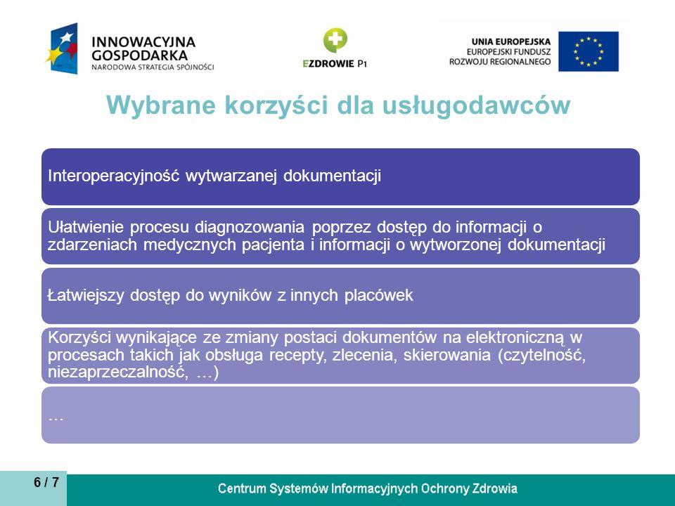 6 / 7 Wybrane korzyści dla usługodawców Interoperacyjność wytwarzanej dokumentacji Ułatwienie procesu diagnozowania poprzez dostęp do informacji o zdarzeniach medycznych pacjenta i informacji o wytworzonej dokumentacji Łatwiejszy dostęp do wyników z innych placówek Korzyści wynikające ze zmiany postaci dokumentów na elektroniczną w procesach takich jak obsługa recepty, zlecenia, skierowania (czytelność, niezaprzeczalność, …) …