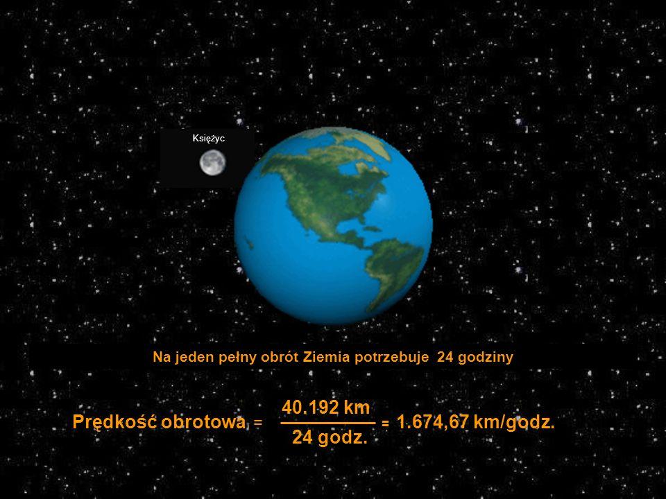 Na jeden pełny obrót Ziemia potrzebuje 24 godziny 40.192 km 24 godz.