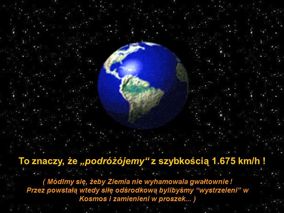 Na jeden pełny obrót Ziemia potrzebuje 24 godziny 40.192 km 24 godz. = 1.674,67 km/godz. Księżyc Prędkość obrotowa =