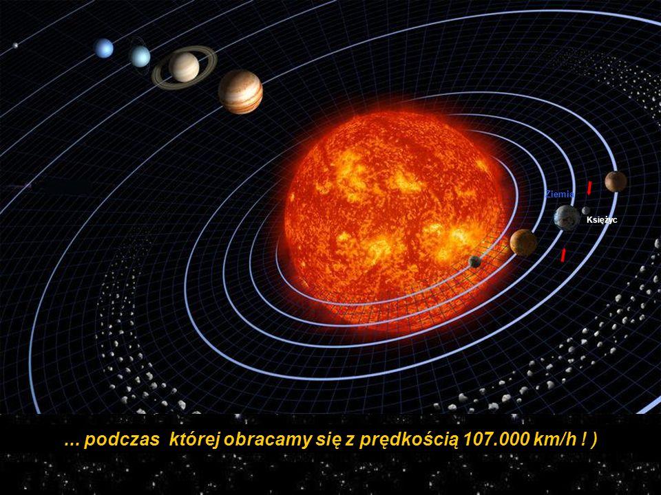 ... podczas której obracamy się z prędkością 107.000 km/h ! ) Ziemia Księżyc