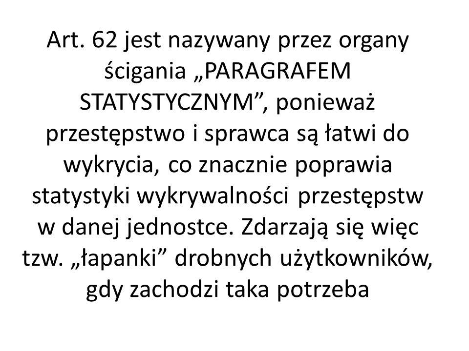 Art. 62 jest nazywany przez organy ścigania PARAGRAFEM STATYSTYCZNYM, ponieważ przestępstwo i sprawca są łatwi do wykrycia, co znacznie poprawia staty