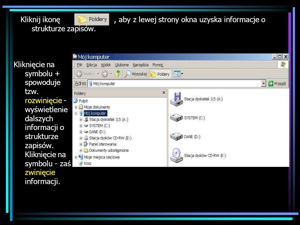 Kliknij ikonę, aby z lewej strony okna uzyska informacje o strukturze zapisów. Kliknięcie na symbolu + spowoduje tzw. rozwinięcie - wyświetlenie dalsz