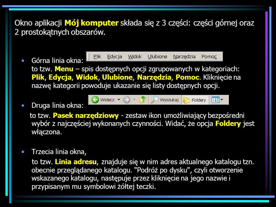 Górna linia okna: to tzw. Menu – spis dostępnych opcji zgrupowanych w kategoriach: Plik, Edycja, Widok, Ulubione, Narzędzia, Pomoc. Kliknięcie na nazw