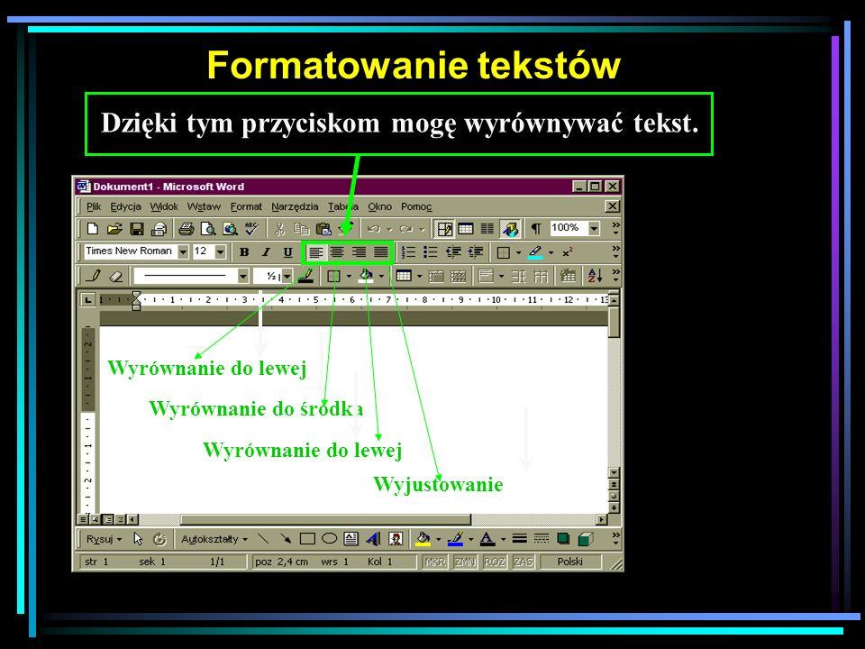 Formatowanie czcionki można wykonać za pomocą przycisków z paska narzędzi (odpowiednie przyciski należy wstawić korzystając z polecenia: Narzędzia Dostosuj...), z menu tekstowego (opcja: Format Czcionka...) lub skrótów.