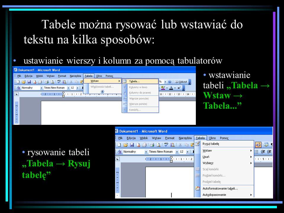 TABELE Edytor tekstu Word oferuje użytkownikowi szereg narzędzi umożliwiających tworzenie tabel.