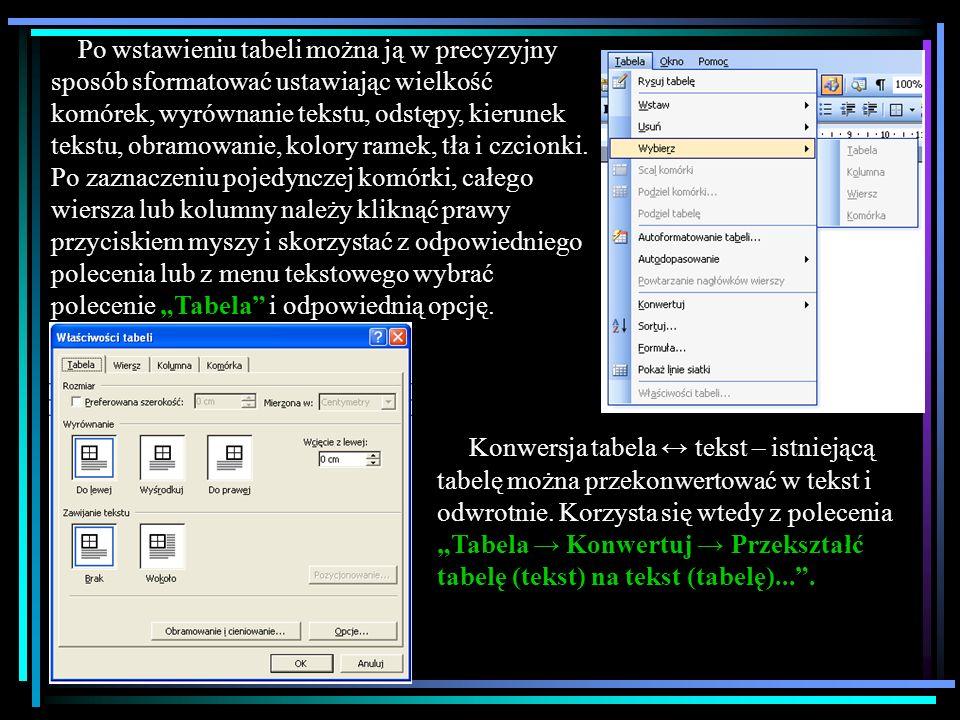 Tabele można rysować lub wstawiać do tekstu na kilka sposobów: ustawianie wierszy i kolumn za pomocą tabulatorów wstawianie tabeli Tabela Wstaw Tabela...