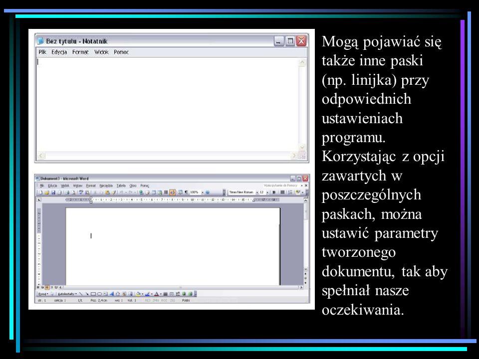 Mogą pojawiać się także inne paski (np.linijka) przy odpowiednich ustawieniach programu.