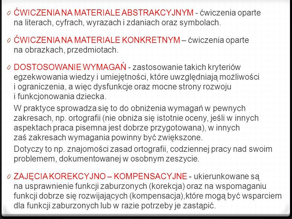 0 ĆWICZENIA NA MATERIALE ABSTRAKCYJNYM - ćwiczenia oparte na literach, cyfrach, wyrazach i zdaniach oraz symbolach. 0 ĆWICZENIA NA MATERIALE KONKRETNY