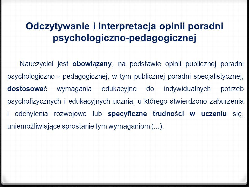 Odczytywanie i interpretacja opinii poradni psychologiczno-pedagogicznej Nauczyciel jest obowiązany, na podstawie opinii publicznej poradni psychologi