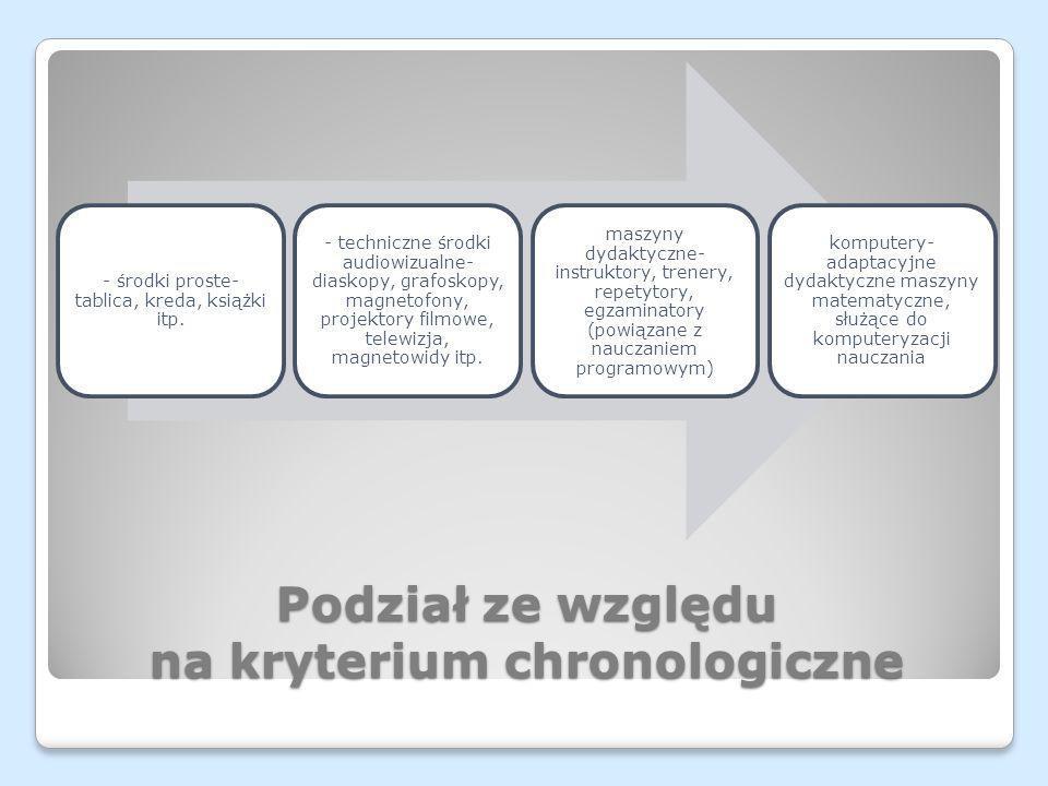 Podział ze względu na kryterium chronologiczne - środki proste- tablica, kreda, książki itp. - techniczne środki audiowizualne- diaskopy, grafoskopy,