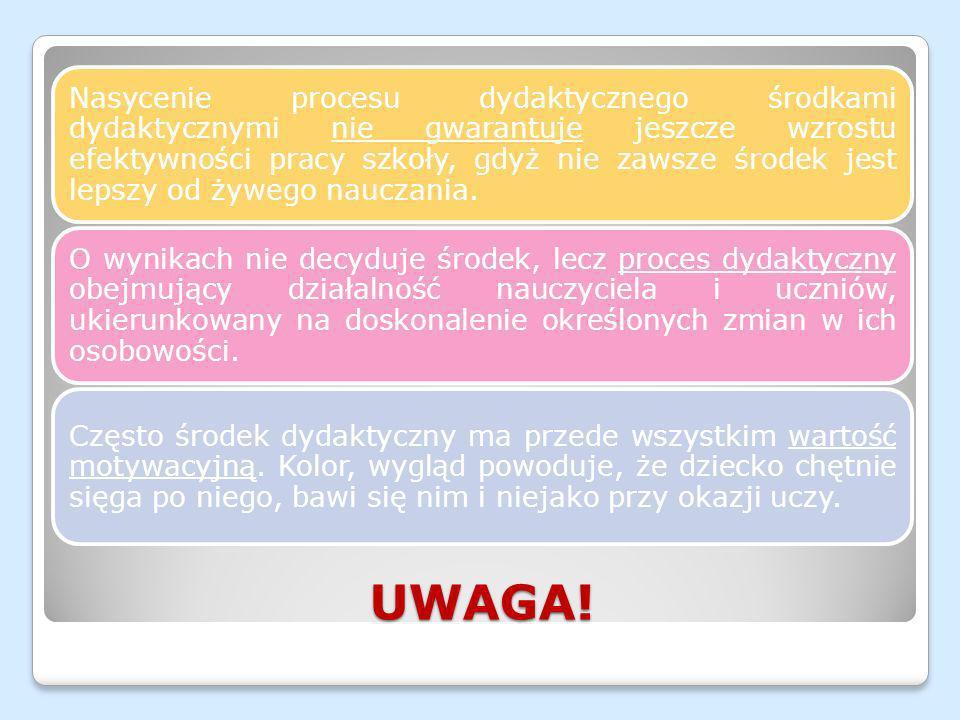 UWAGA! Nasycenie procesu dydaktycznego środkami dydaktycznymi nie gwarantuje jeszcze wzrostu efektywności pracy szkoły, gdyż nie zawsze środek jest le