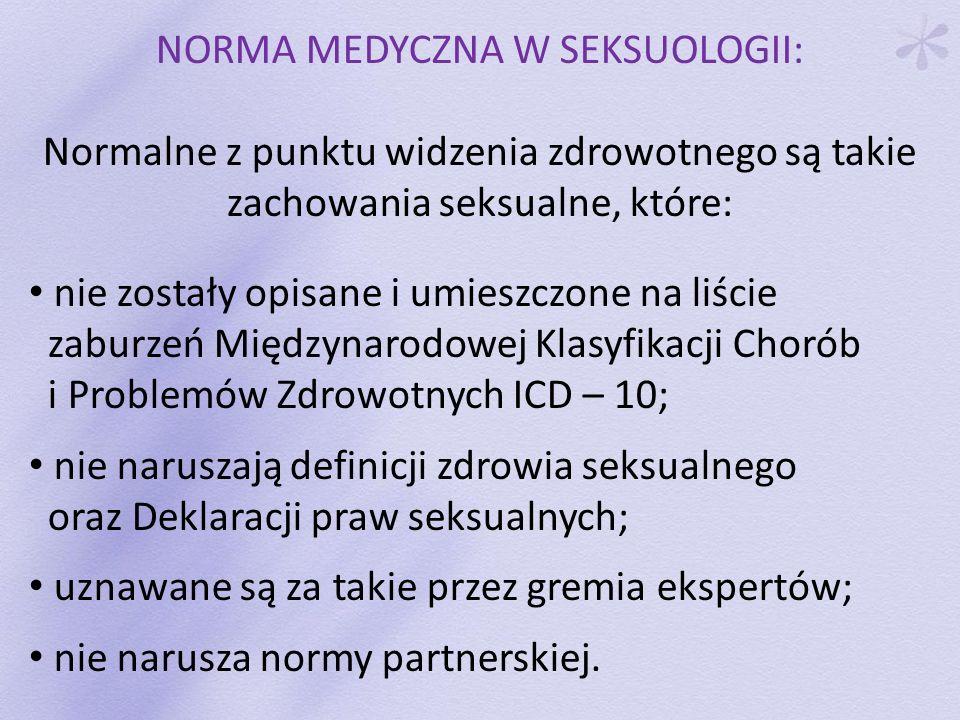NORMA MEDYCZNA W SEKSUOLOGII: Normalne z punktu widzenia zdrowotnego są takie zachowania seksualne, które: nie zostały opisane i umieszczone na liście