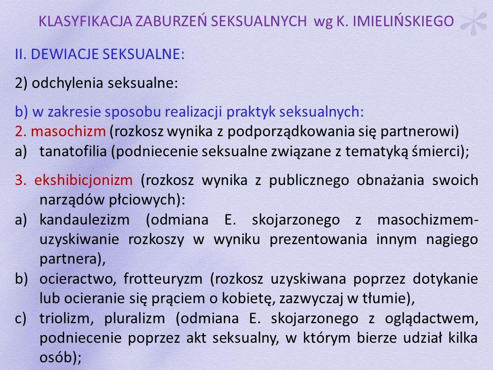 KLASYFIKACJA ZABURZEŃ SEKSUALNYCH wg K. IMIELIŃSKIEGO II. DEWIACJE SEKSUALNE: 2) odchylenia seksualne: b) w zakresie sposobu realizacji praktyk seksua