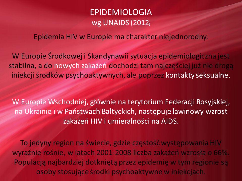 EPIDEMIOLOGIA wg UNAIDS (2012 ) Epidemia HIV w Europie ma charakter niejednorodny. W Europie Środkowej i Skandynawii sytuacja epidemiologiczna jest st