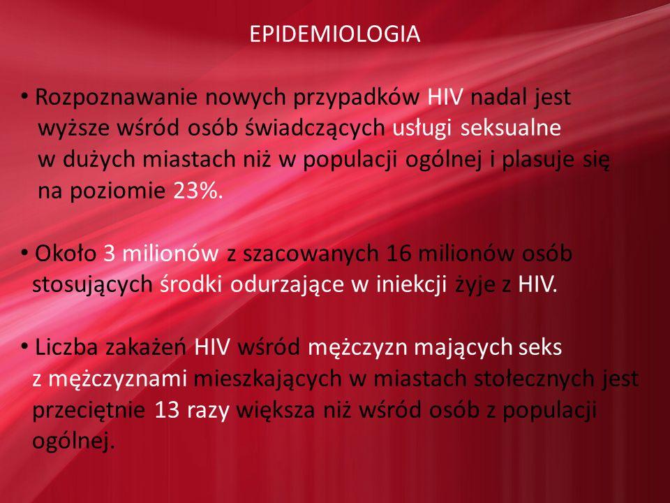 EPIDEMIOLOGIA Rozpoznawanie nowych przypadków HIV nadal jest wyższe wśród osób świadczących usługi seksualne w dużych miastach niż w populacji ogólnej