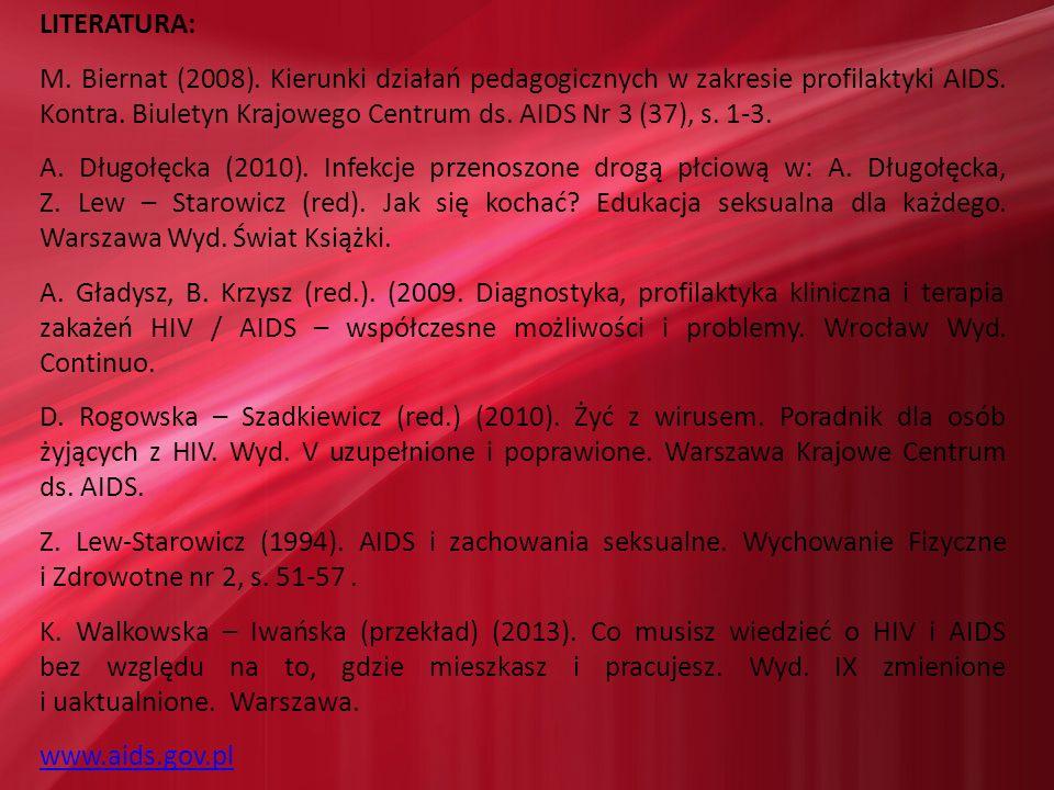 LITERATURA: M. Biernat (2008). Kierunki działań pedagogicznych w zakresie profilaktyki AIDS. Kontra. Biuletyn Krajowego Centrum ds. AIDS Nr 3 (37), s.