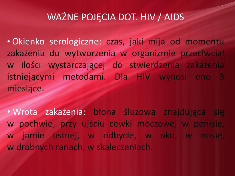 WAŻNE POJĘCIA DOT. HIV / AIDS Okienko serologiczne: czas, jaki mija od momentu zakażenia do wytworzenia w organizmie przeciwciał w ilości wystarczając