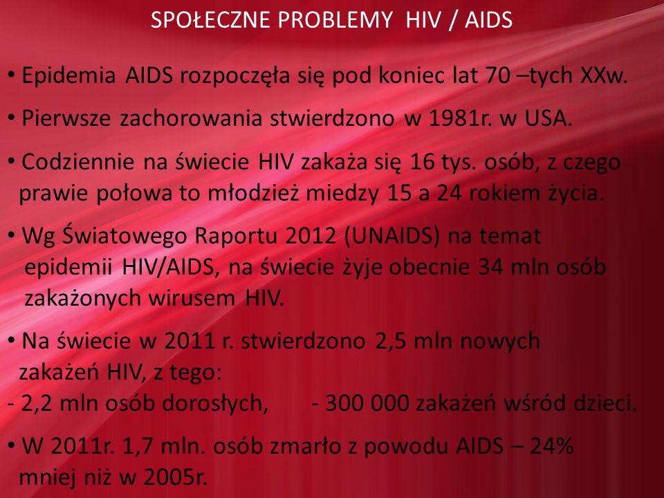 SPOŁECZNE PROBLEMY HIV / AIDS Epidemia AIDS rozpoczęła się pod koniec lat 70 –tych XXw. Pierwsze zachorowania stwierdzono w 1981r. w USA. Codziennie n