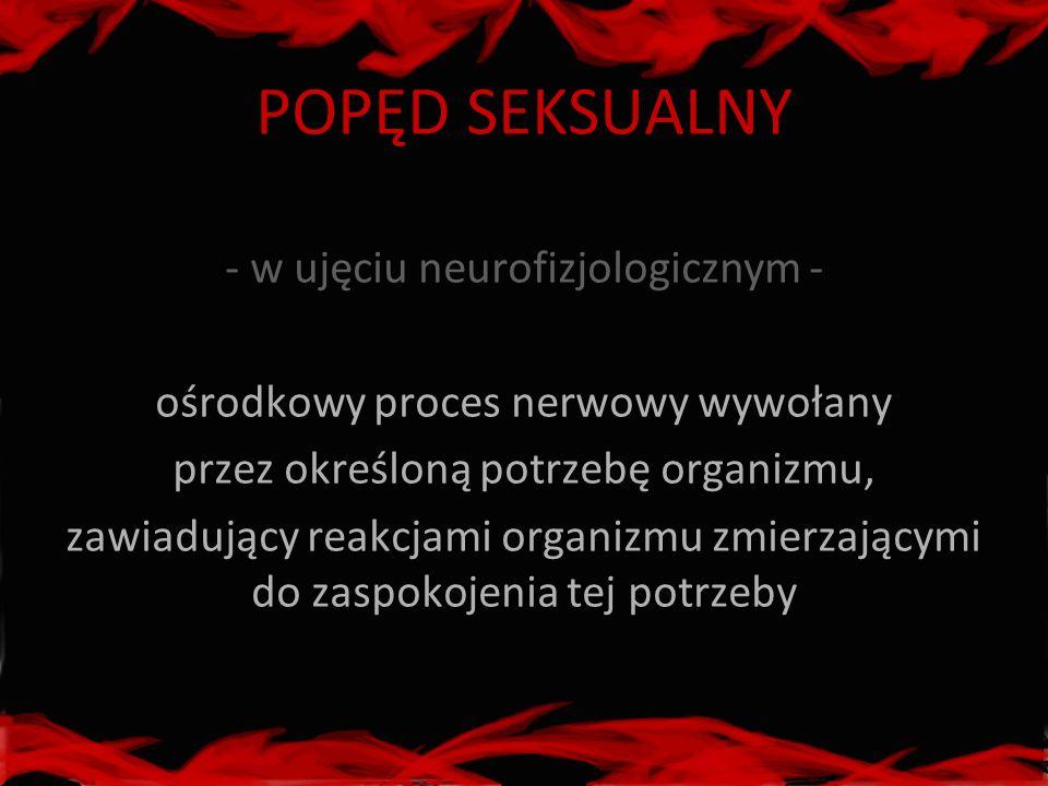 POPĘD SEKSUALNY - w ujęciu neurofizjologicznym - ośrodkowy proces nerwowy wywołany przez określoną potrzebę organizmu, zawiadujący reakcjami organizmu