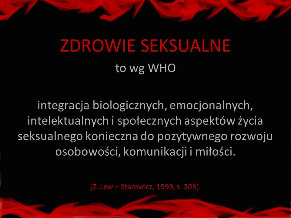ZDROWIE SEKSUALNE to wg WHO integracja biologicznych, emocjonalnych, intelektualnych i społecznych aspektów życia seksualnego konieczna do pozytywnego