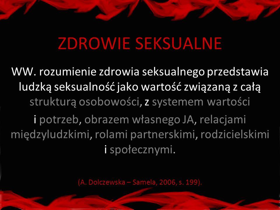 ZDROWIE SEKSUALNE WW. rozumienie zdrowia seksualnego przedstawia ludzką seksualność jako wartość związaną z całą strukturą osobowości, z systemem wart