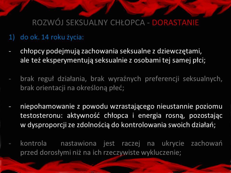 ROZWÓJ SEKSUALNY CHŁOPCA - DORASTANIE 1)do ok. 14 roku życia: -chłopcy podejmują zachowania seksualne z dziewczętami, ale też eksperymentują seksualni