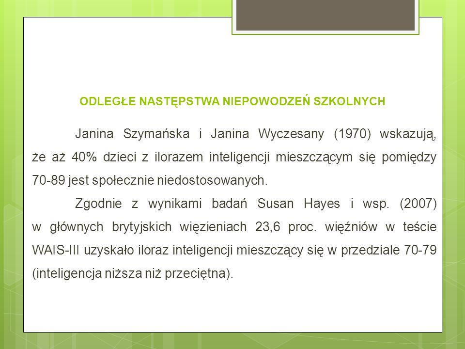 ODLEGŁE NASTĘPSTWA NIEPOWODZEŃ SZKOLNYCH Janina Szymańska i Janina Wyczesany (1970) wskazują, że aż 40% dzieci z ilorazem inteligencji mieszczącym się pomiędzy 70-89 jest społecznie niedostosowanych.