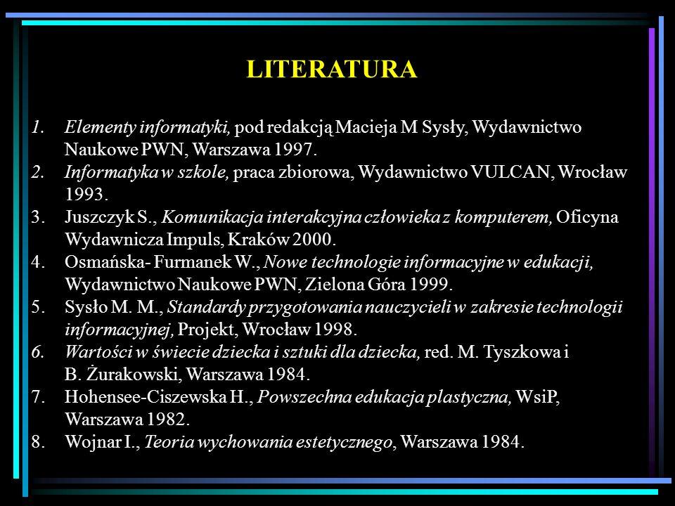 LITERATURA 1.Elementy informatyki, pod redakcją Macieja M Sysły, Wydawnictwo Naukowe PWN, Warszawa 1997. 2.Informatyka w szkole, praca zbiorowa, Wydaw