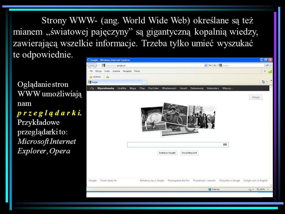 Strony WWW- (ang. World Wide Web) określane są też mianem światowej pajęczyny są gigantyczną kopalnią wiedzy, zawierającą wszelkie informacje. Trzeba