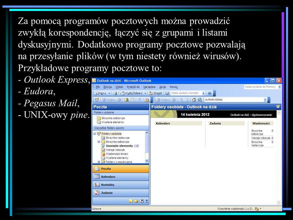Za pomocą programów pocztowych można prowadzić zwykłą korespondencję, łączyć się z grupami i listami dyskusyjnymi.