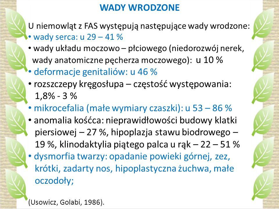 WADY WRODZONE U niemowląt z FAS występują następujące wady wrodzone: wady serca: u 29 – 41 % wady układu moczowo – płciowego (niedorozwój nerek, wady