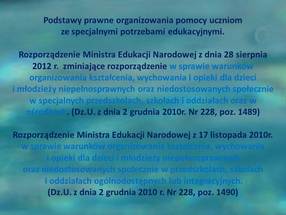 Podstawy prawne organizowania pomocy uczniom ze specjalnymi potrzebami edukacyjnymi. Rozporządzenie Ministra Edukacji Narodowej z dnia 28 sierpnia 201