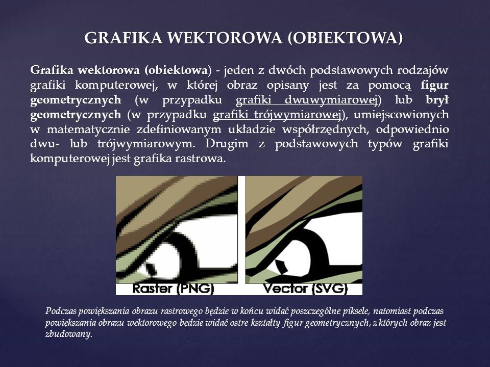 GRAFIKA WEKTOROWA (OBIEKTOWA) Grafika wektorowa (obiektowa Grafika wektorowa (obiektowa) - jeden z dwóch podstawowych rodzajów grafiki komputerowej, w