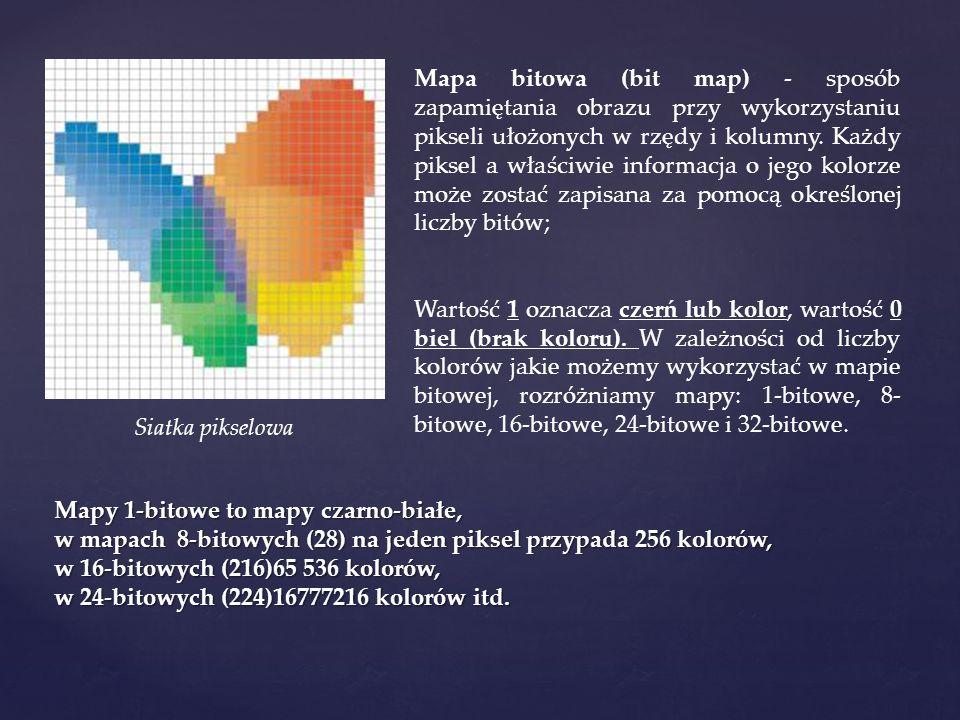 Mapa bitowa (bit map) - sposób zapamiętania obrazu przy wykorzystaniu pikseli ułożonych w rzędy i kolumny. Każdy piksel a właściwie informacja o jego