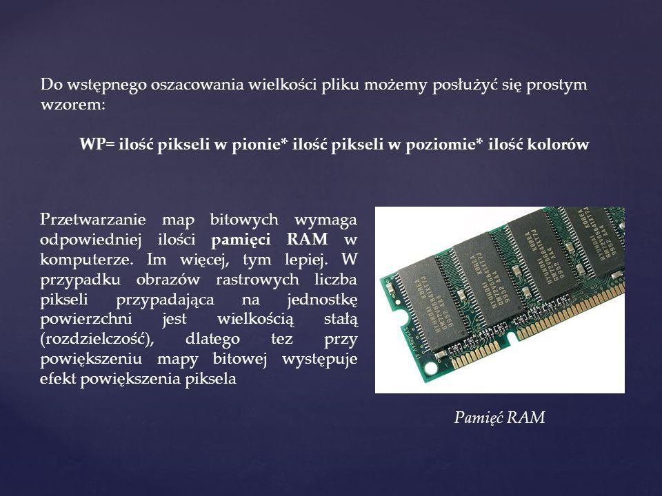 Do wstępnego oszacowania wielkości pliku możemy posłużyć się prostym wzorem: WP= ilość pikseli w pionie* ilość pikseli w poziomie* ilość kolorów Przetwarzanie map bitowych wymaga odpowiedniej ilości pamięci RAM w komputerze.