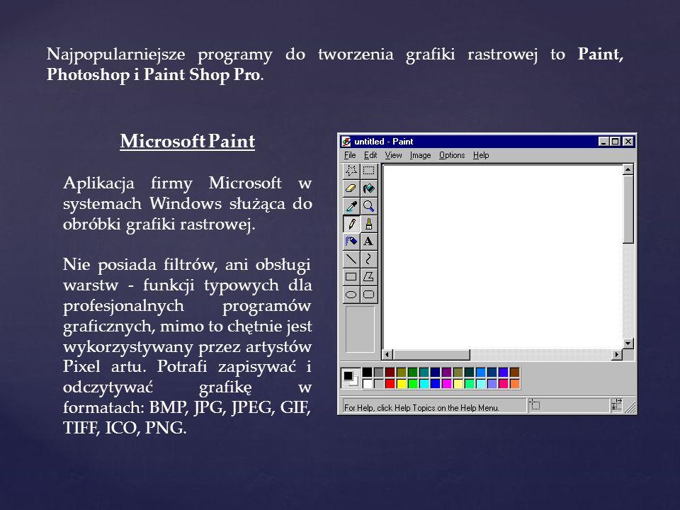 Najpopularniejsze programy do tworzenia grafiki rastrowej to Paint, Photoshop i Paint Shop Pro. Microsoft Paint Aplikacja firmy Microsoft w systemach
