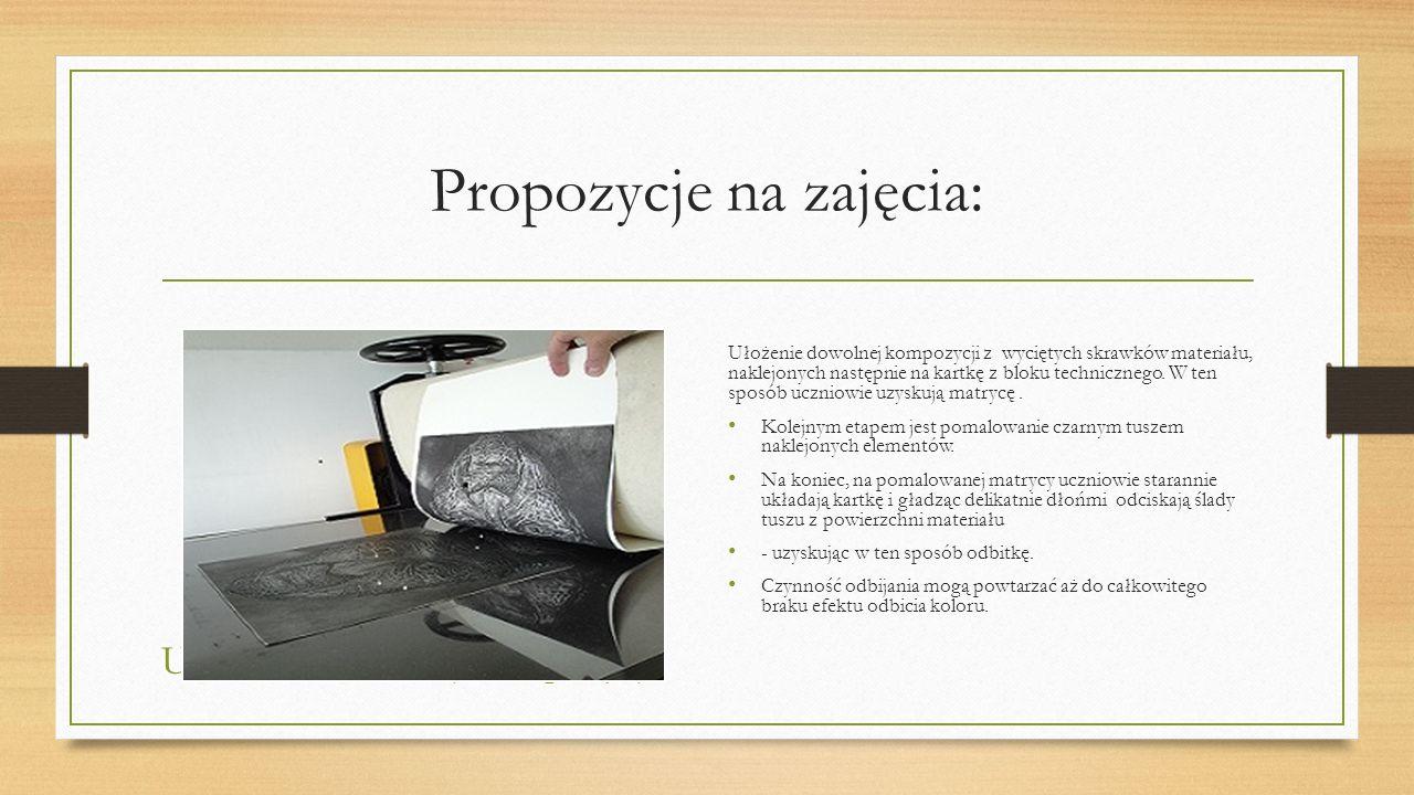 Propozycje na zajęcia: Ułożenie dowolnej kompozycji Ułożenie dowolnej kompozycji z wyciętych skrawków materiału, naklejonych następnie na kartkę z blo
