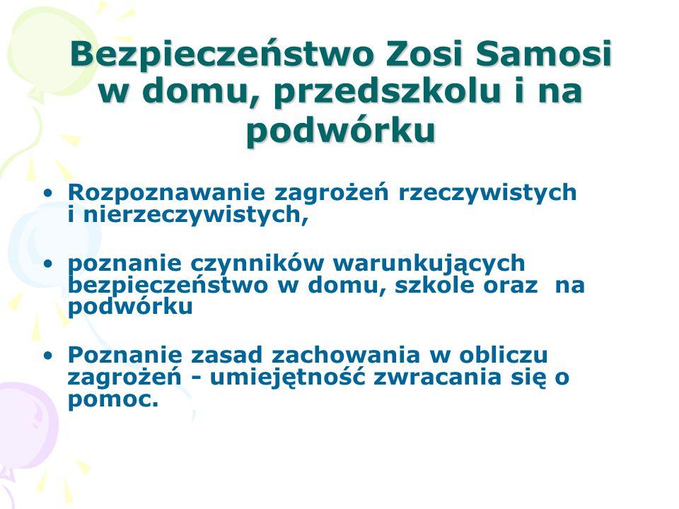 Bezpieczeństwo Zosi Samosi w domu, przedszkolu i na podwórku Rozpoznawanie zagrożeń rzeczywistych i nierzeczywistych, poznanie czynników warunkujących bezpieczeństwo w domu, szkole oraz na podwórku Poznanie zasad zachowania w obliczu zagrożeń - umiejętność zwracania się o pomoc.
